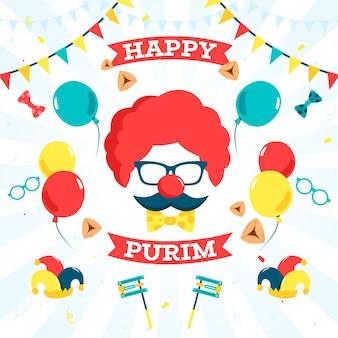Flacher design purim tag mit clownsmaske und luftballons