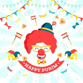 Flacher design-purim-tag mit smiley-clown-maske und luftballons