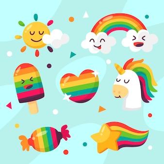 Flacher design-regenbogen und einhorn