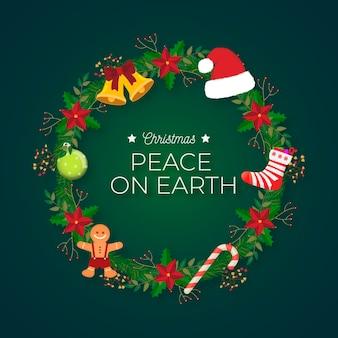 Flacher design-weihnachtskranz