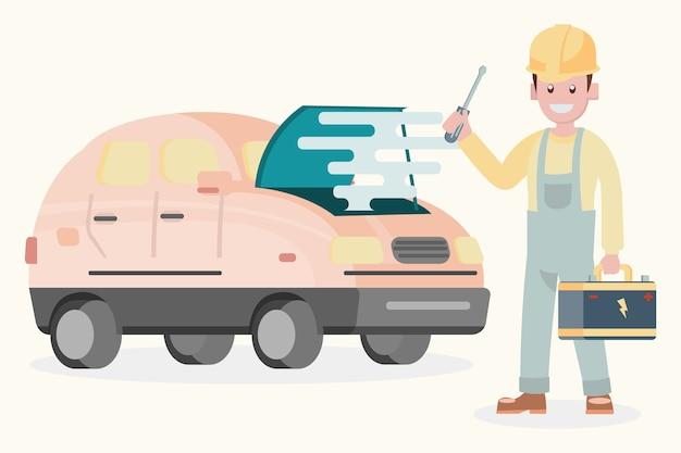 Flacher designcharakter der illustration