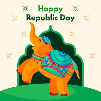 Flacher designhintergrund der indischen republik-tages mit elefanten
