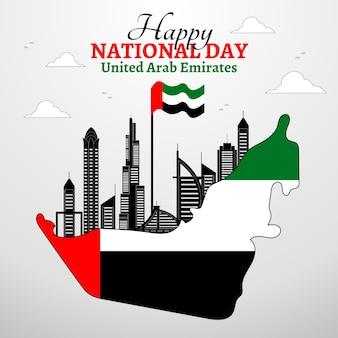 Flacher designhintergrund des vereinigten arabischen emirats nationalfeiertag