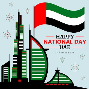 Flacher designhintergrund vereinigte arabische emirate nationalfeiertag