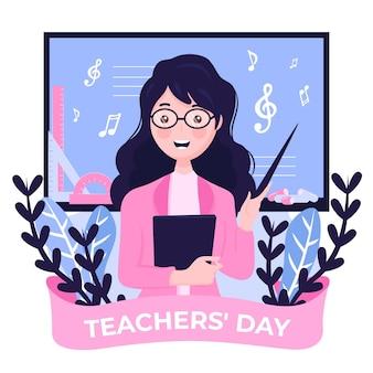 Flacher designhintergrundlehrertag mit frau und noten