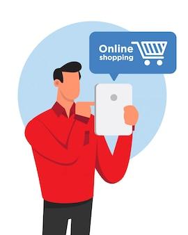 Flacher designmann beim online-shopping