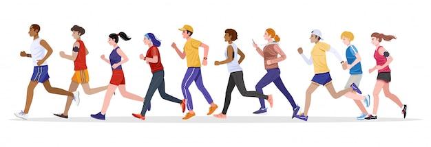 Flacher designstil. gruppe von gesunden jungen männern und frauen, die zusammen joggen. vektor