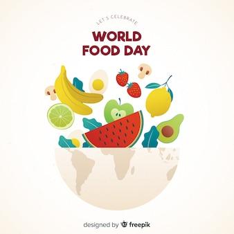 Flacher designweltnahrungsmitteltag mit nahrungsmitteln in der schüssel