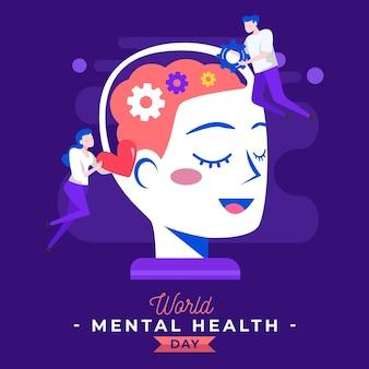Flacher designwelttag der psychischen gesundheit mit frau