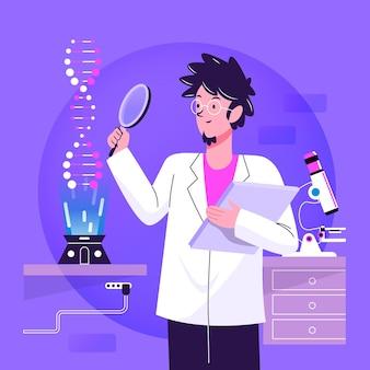 Flacher designwissenschaftler, der dna-molekülillustration hält