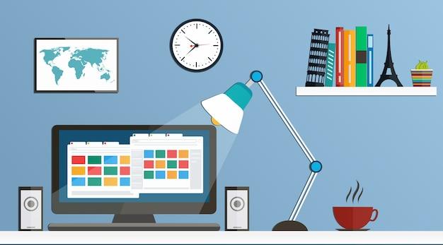 Flacher desktop, arbeitsbereich.
