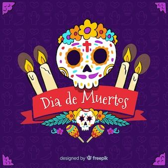 Flacher día de Muertos Hintergrunddesign