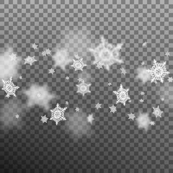 Flacher dof der weihnachtsschneeflocken auf transparentem hintergrund. und beinhaltet auch