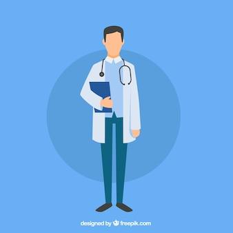 Flacher doktor mit klemmbrett