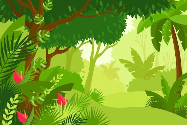 Flacher dschungelhintergrund mit hohen bäumen und bunten blumen