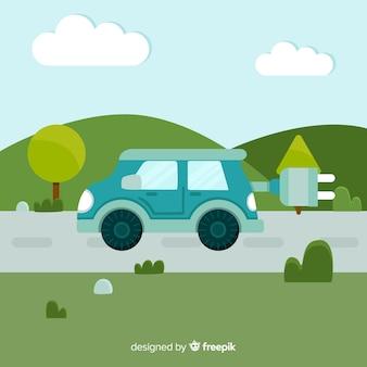Flacher elektroauto-hintergrund