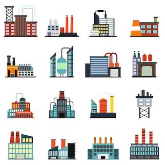 Flacher elementsatz der industriegebäudefabrik lokalisiert