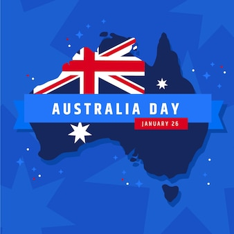 Flacher entwurf australien tag mit karte