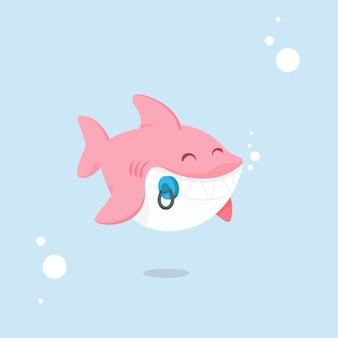 Flacher entwurf babyhai rosa schatten cartoon-stil