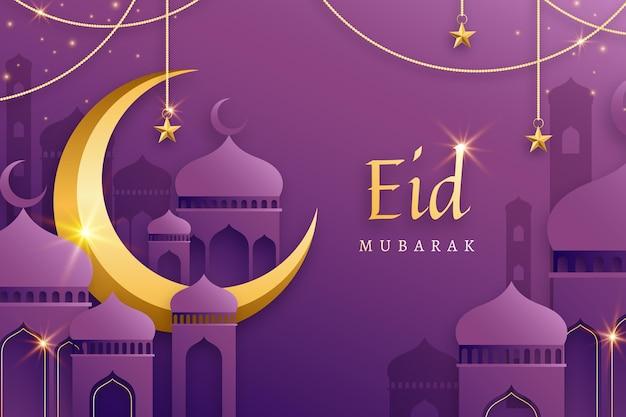 Flacher entwurf des goldenen mondes eid mubarak