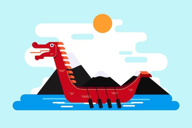Flacher entwurf drachenboot hintergrund