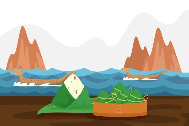 Flacher entwurf drachenboot zongzi hintergrund
