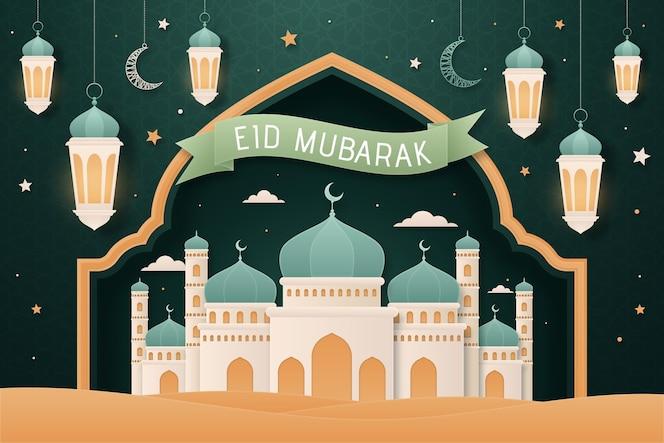 Flacher entwurf eid mubarak hintergrund mit moschee