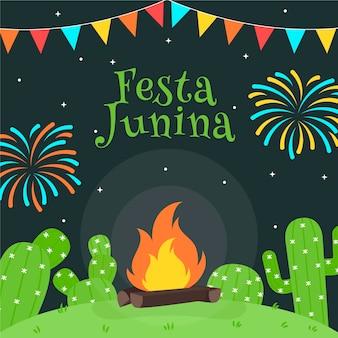 Flacher entwurf festa junina hintergrund