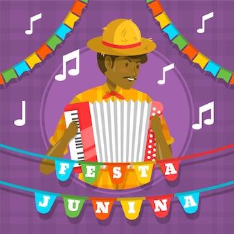 Flacher entwurf festa junina mann mit akkordeon