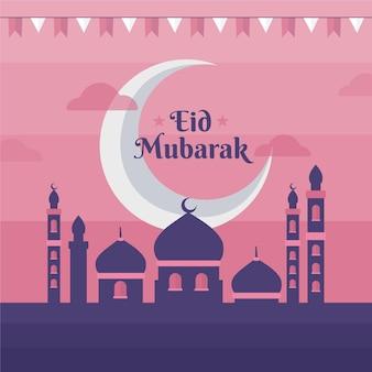 Flacher entwurf glücklicher eid mubarak rosa himmel