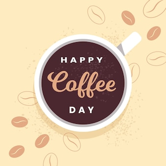 Flacher entwurf glücklicher internationaler tag des kaffees