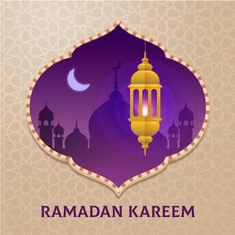 Flacher entwurf glücklicher ramadan kareem mond und kerze