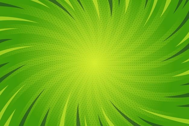 Flacher entwurf grüner comicarthintergrund