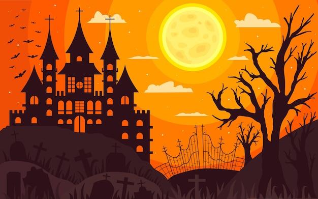 Flacher entwurf gruseliger halloween-hintergrund