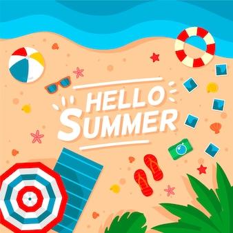 Flacher entwurf hallo sommerhintergrund