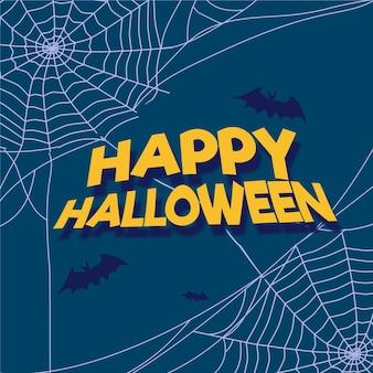 Flacher entwurf halloween spinnennetz hintergrund
