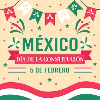 Flacher entwurf illustration mexiko verfassungstag