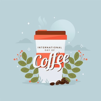 Flacher entwurf internationaler tag des kaffeehintergrundes