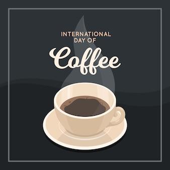 Flacher entwurf internationaler tag des kaffeehintergrundes