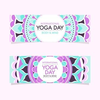Flacher entwurf internationaler tag des yoga-banners