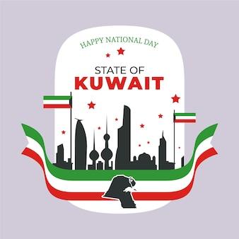 Flacher entwurf kuwait nationalfeiertag mit flagge
