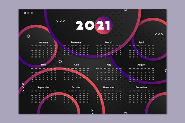 Flacher entwurf neujahrskalender 2021