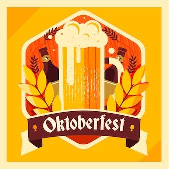 Flacher entwurf oktoberfest hintergrund mit bier