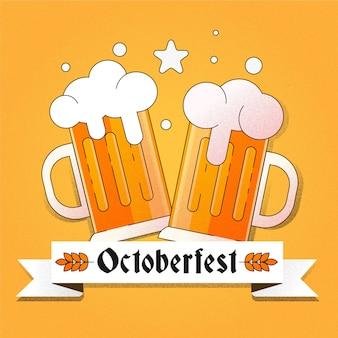 Flacher entwurf oktoberfest hintergrund mit bieren