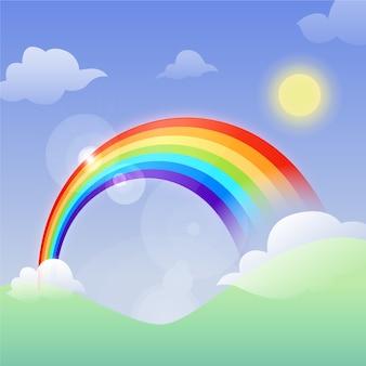 Flacher entwurf regenbogen und sonne