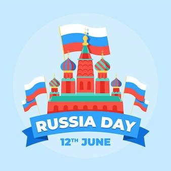 Flacher entwurf russland-tageshintergrund