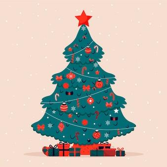 Flacher entwurf verzierte weihnachtsbaum