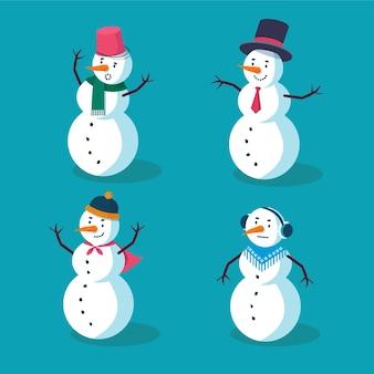 Flacher entwurf weihnachten schneemann charakter