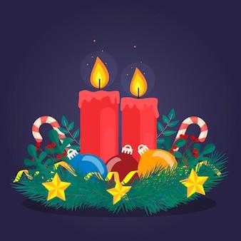 Flacher entwurf weihnachtskerzenhintergrund