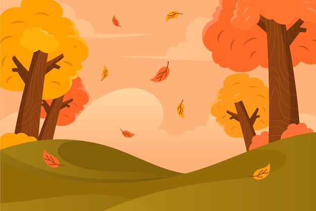 Flacher entwurfherbsthintergrund mit bunten bäumen